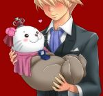 ao_usagi ascot blonde_hair blush box carrying formal hat heart jewelry original otter princess_carry pun red_background ring simple_background suit what