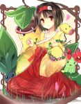 bellossom bellsprout black_hair brown_eyes erika_(pokemon) flower hairband highres japanese_clothes oddish pokemon pokemon_(game) pokemon_frlg short_hair sitting smile tiara victreebel wreath xe-cox
