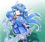 1girl aoki_reika black-yuzunyan blue_dress blue_eyes blue_hair choker cure_beauty dress dual_wielding from_above hair_tubes head_wings ice_sword long_hair looking_up magical_girl payot precure signature skirt smile smile_precure! solo tiara very_long_hair water wrist_cuffs