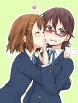 blush brown_eyes brown_hair closed_eyes embarrassed eyes_closed glasses hair_ornament hairclip hirasawa_yui hug k-on! kagiana kiss manabe_nodoka multiple_girls o3o red-framed_glasses school_uniform semi-rimless_glasses short_hair sweatdrop under-rim_glasses yuri
