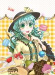bread cake candy chocolate cream_puff crepe doughnut food fruit green_eyes green_hair hat hat_ribbon komeiji_koishi long_hair long_sleeves open_mouth pocky ribbon solo strawberry touhou umebayashi_saki wide_sleeves