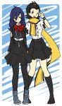 aiwatan arisato_minato digital_media_player genderswap hairband long_hair mochizuki_ryouji multiple_girls pantyhose persona persona_3 ribbon scarf school_uniform short_hair simple_background skirt