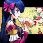 blue_eyes blue_hair blush detached_sleeves fan flower folding_fan japanese_clothes kaibara_yuu long_hair niwa_nagahide_(oda_nobuna_no_yabou) oda_nobuna_no_yabou profile sode solo