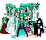 :d ^_^ acute_(vocaloid) aqua_hair arms_behind_back bare_shoulders black_dress black_rock_shooter black_rock_shooter_(character) blue_dress blue_eyes boots cendrillon_(vocaloid) clone closed_eyes dress eh?_ah_sou_(vocaloid) eyes_closed flower green_hair hachune_miku hair_flower hair_ornament hairband hand_on_shoulder hands_clasped hatsune_miku japanese_clothes kimono long_hair looking_at_viewer looking_back magnet_(vocaloid) melt_(vocaloid) multiple_girls multiple_persona nyakelap o_o odd_one_out open_mouth panties puffy_short_sleeves puffy_sleeves romeo_to_cinderella_(vocaloid) shiroi_yuki_no_princess_wa_(vocaloid) short_sleeves sitting skirt smile songover standing thigh-highs thigh_boots thighhighs underwear underwear_only very_long_hair vocaloid waving white_dress world_is_mine_(vocaloid) yumemiru_kotori_(vocaloid)
