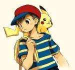 1boy animal_on_shoulder bag baseball_cap black_hair crossover fujimaru_9-gou hat mother_(game) mother_2 ness pikachu pokemon pokemon_(creature) striped super_smash_bros. t-shirt