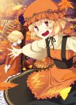 aki_minoriko aki_shizuha autumn autumn_leaves blonde_hair dress food fruit grapes hat leaf looking_at_viewer maple_leaf multiple_girls nature open_mouth red_eyes short_hair siblings sisters takuzui touhou tree yellow_eyes