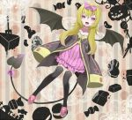 black_legwear blonde_hair blush bow cake candy cream_puff cross demon_tail demon_wings erubo fang food fork hair_bow hexagram jack-o'-lantern jack-o'-lantern jelly_bean lollipop long_hair long_sleeves open_mouth original pink_eyes solo tail thigh-highs thighhighs wide_sleeves wings