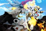 aegis android aqua_hair ass battle_axe blonde_hair blue_eyes blue_hair headphones labrys long_hair multiple_girls nyoronyoro persona persona_3 persona_4 persona_4:_the_ultimate_in_mayonaka_arena pleated_skirt ponytail robot_joints school_uniform short_hair skirt very_long_hair weapon