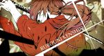 himura_kenshin japanese_clothes katana long_hair male ponytail red_hair redhead rurouni_kenshin saitou_rokuro samurai scar solo sword weapon