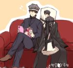 afjc boxers boxers_on_head brown_hair couch dakimakura_(object) emiya_kiritsugu fate/zero fate_(series) kotomine_kirei manga_(object) musical_note necktie parody pillow solo underwear yuru_yuri