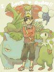 1boy baseball_cap breloom child english full_body gold_(pokemon) hat jacket jumpluff kaibashira pokemon pokemon_(creature) pokemon_(game) pokemon_hgss sceptile shaymin smile tegaki venusaur