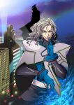 blue_eyes blue_fire cape dual_persona finger_to_mouth fire gloves glowing glowing_eye green_eyes grey_hair hair_ornament hairclip libuki long_hair lunatic_(tiger_&_bunny) multiple_boys silver_hair superhero tiger_&_bunny yuri_petrov