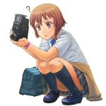? bag blush braid brown_eyes brown_hair camera holding itou_(onsoku_tassha) kneehighs loafers original plaid plaid_skirt pleated_skirt school_bag school_uniform shirt shoes short_hair simple_background single_braid skirt solo squatting sweater_around_waist twin-lens_reflex_camera watch white_background wristwatch