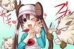 double_bun mankey mei_(pokemon) nishi_koutarou pokemon pokemon_(game) pokemon_bw2 raglan_sleeves twintails visor_cap