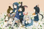 animal_ears black_hair blue_hair braid brown_eyes brown_hair bunny_ears bunnygirl carrot centaur doughnut ebi_(ebimomo) flower flower_field flowers food grey_eyes grey_hair group horn horns ladybug mole multiple_girls original pink_eyes polo_(pixiv1844541) ponytail red_eyes school_uniform serafuku unicorn