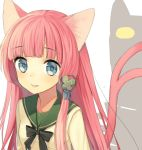 animal_ears bad_id blue_eyes bust cat_ears cat_tail cocona_ichijo collarbone cropped fang hair_ornament long_hair midorikawa_you multiple_tails original pink_hair solo speech_bubble tail