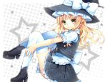 apron blonde_hair boots bow braid dress hat hat_bow highres kanzaki_maguro kirisame_marisa long_hair single_braid sitting skirt smile solo sparkle star thigh-highs thighhighs touhou waist_apron white_legwear witch_hat yellow_eyes