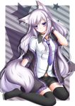 1girl animal_ears black_legwear bracelet choker clothing ear_piercing earrings female hair hair_ornament hairclip hand_in_hair highres jewelry long_hair looking_at_viewer necktie no_shoes off_shoulder original piercing purple_eyes purple_hair shitou shorts silver_hair sitting solo stars striped striped_background stripes tail thigh-highs thigh_highs thighhighs very_long_hair violet_eyes wariza zettai_ryouiki