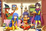 1boy 3girls bed blue_hair character_request dragon_quest dragon_quest_iii fire hat long_hair multiple_girls purple_hair red_eyes short_hair sitting smile sword tsurukou_(tksymkw) weapon witch_hat