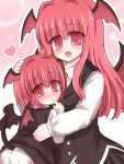 bust child fang finger_to_mouth head_wings hug koakuma long_hair looking_at_viewer multiple_girls open_mouth panties red_eyes red_hair redhead ry short_hair simple_background smile tail touhou underwear white_background white_panties wings