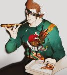 1boy alternate_costume black_pants brown_hair eating eyepatch feet_out_of_frame food green_sweater hair_slicked_back highres holding holding_food holding_pizza jewelry long_sideburns looking_at_viewer male_focus mask one_piece pants pectorals pizza reindeer_print ring short_hair sideburns sitting solo sosogi_(qtgejyrkhrng4jk) spiky_hair sweater toned toned_male x_drake