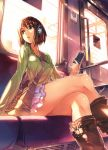 absurdres bag between_breasts boots brown_eyes brown_hair crossed_legs digital_media_player frilled_skirt headphones highres iphone jewelry knee_boots kneehighs legs legs_crossed looking_away necklace original parted_lips phone scan short_hair shoulder_bag sitting solo strap_cleavage train train_interior vania600
