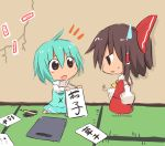 black_eyes blue_hair bow brown_hair calligraphy_brush chibi crack detached_hair hair_bow hair_tubes hakurei_reimu himegi multiple_girls ofuda open_mouth paintbrush short_hair sketch smile tatara_kogasa touhou