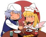 apron blonde_hair blue_dress capelet chopsticks closed_eyes cup dress eating eyes_closed food food_on_face hat letty_whiterock lily_white long_hair long_sleeves multiple_girls obentou onikobe_rin shirt short_hair silver_hair smile table teacup touhou waist_apron white_dress