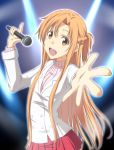 :d alternate_costume asuna_(sao) braid brown_eyes brown_hair holding long_hair microphone nori_tamago open_mouth outstretched_hand pleated_skirt ribbed_sweater singing skirt smile solo sweater sword_art_online