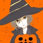 beatrice brown_eyes brown_hair dark_souls english hat jack-o'-lantern jack-o'-lantern lowres orange_background pumpkin short_hair solo witch witch_beatrice