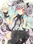 angel_wings bare_shoulders black_legwear blush dress drill_hair gothic_lolita grey_hair hair_ribbon hashiko_(pecopom) idolmaster idolmaster_cinderella_girls kanzaki_ranko lolita_fashion long_hair looking_at_viewer red_eyes ribbon silver_hair skirt sleeveless solo thigh-highs thighhighs twin_drills twintails wings wrist_cuffs