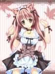 animal_ears arms_up brown_eyes brown_hair cat_ears collar copyright_request dress frilled_dress frills highres kemonomimi leaf maid maid_headdress maple_leaf nanaroba_hana nekomimi striped striped_background