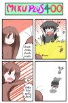4koma animal_ears antennae black_dress black_hair brown_eyes brown_hair cat_ears catstudio_(artist) cockroach comic dress fish highres insect kuro_(miku_plus) multiple_girls open_mouth personification peter_(miku_plus) pointing pointing_at_viewer thai translated translation_request vocaloid