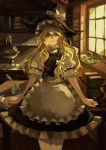 apron blonde_hair blush book bottle bow braid chemistry hat hat_bow highres kirisame_marisa long_hair pen puffy_sleeves short_hair short_sleeves side_braid single_braid skirt solo test_tube touhou witch_hat yaozhiligenius yellow_eyes
