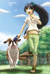 ;d belt black_hair blue_eyes bow cloud clouds dog dog_walking fang ganaha_hibiki gazebo grass hair_bow highres holding idolmaster inumi leash leg_up long_hair looking_at_viewer nature navel open_mouth outdoors park ponytail running shirt shorts sky smile solo st_bernard toes tongue tree tsukikase white_shirt wink