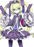 7th_dragon_2020 blonde_hair dogs:_bullets_&_carnage dual_wielding gothic_lolita green_eyes gun hacker_(7th_dragon) hair_ribbon handgun highres lolita_fashion miwa_shirou pantyhose ribbon solo trista_(dogs) twintails vertical-striped_legwear vertical_stripes weapon