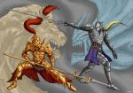 armor battle blonde_hair crossover cutting dark_souls demon demon's_souls demon's_souls dragon_slayer_ornstein fangs full_armor gauntlets helmet highres horn knight lion long_hair male menaslg monster multiple_boys penetrator plume polearm spear sword weapon
