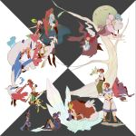 absurdres ai2 alicia_(pokemon) alternate_form arceus arlon_(pokemon) artist_request bad_id barefoot bike_shorts black_hair blonde_hair blue_eyes brown_eyes brown_hair cape celebi chocolate closed_eyes damos_(pokemon) darkrai deoxys dress entei everyone eye_contact eyes_closed film_strip fleura_(pokemon) flower giratina glasses green_eyes green_hair grey_eyes hand_holding haruka_(pokemon) hat head_wreath highres holding holding_hands hug jirachi kanon_(pokemon) latios leaf long_hair long_image looking_at_another lucario lugia manaphy masato_(pokemon) mewtwo mii_snowdon minun ookido_yukinari pichu plusle pokemon pokemon_(anime) sandals shaymin short_hair silver_eyes silver_hair simple_background sitting sketchbook standing tears tooi_rondot veil wide_image young zoroark zorua