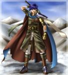 adapted_costume bandage bandages belt blue_eyes blue_hair boots cape fire_emblem fire_emblem:_akatsuki_no_megami fire_emblem:_souen_no_kiseki gloves headband highres ike male mountain short_hair solo strap sword weapon yuino_(fancy_party)