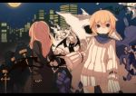 2girls androgynous bat belt blonde_hair building city coffin cross dracula_(fuurin) fuurin_(omaemona) long_hair mina_harker_(fuurin) moon multiple_girls night original red_eyes scarf short_hair skull sleeves_past_wrist stars teeth trenchcoat wings