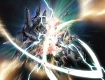 beam_rifle damaged debris energy_sword explosion glowing gun gundam gundam_seed gundam_seed_destiny platin_(alios) providence_gundam space star_(sky) strike_freedom_gundam sword time_paradox weapon