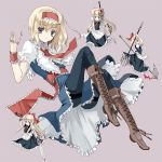 alice_margatroid alternate_hairstyle apron battle_axe belt black_legwear blonde_hair blue_dress blue_eyes boots capelet cross-laced_footwear doll dress full_body hairband hand_gesture jewelry knee_boots lace-up_boots long_legs multiple_girls necktie pantyhose polearm ra-bit ring shanghai shanghai_doll short_hair simple_background solo sword title_drop touhou trident waist_apron weapon wrist_cuffs wrist_ribbon zweihander