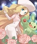 bangs big_hair blonde_hair blue_eyes cattleya_(pokemon) dress elite_four flower hat irouha long_hair parted_bangs pokemon pokemon_(game) pokemon_bw2 reuniclus rose
