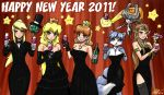 6+girls :p armlet bare_shoulders black_dress blonde_hair blue_eyes blue_hair bottle bowtie bracelet breasts brown_hair choker cleavage company_connection cup dress earrings elbow_gloves formal furry glass gloves imp jewelry john_joseco krystal lace lace-trimmed_thighhighs long_hair looking_at_viewer metroid metroid_(creature) midna multiple_girls new_year nintendo pant_suit party_horn pendant princess_daisy princess_peach princess_zelda samus_aran short_hair signature smile star star_fox suit super_mario_bros. tail the_legend_of_zelda thighhighs tongue twilight_princess wine wine_glass