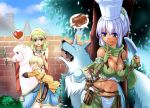 1boy 2girls :d :p ^_^ acolyte alpaca blonde_hair blue_eyes blush boned_meat breasts brick_wall chef_hat cleavage closed_eyes dark_skin eating elbow_gloves eyes_closed fingerless_gloves food gloves green_eyes gypsy_(ragnarok_online) hairband hand_on_head hat heart holding_knife kawagoe_pochi llama meat multiple_girls navel open_mouth ragnarok_online ranger_(ragnarok_online) shared_speech_bubble short_hair sitting smile spoken_heart spoken_object tongue toque_blanche tree wolf