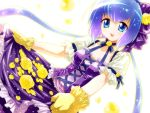aoki_lapis blue_eyes blue_hair dress flower gloves highres long_hair open_mouth oumi_sanaka petals purple_dress rose smile solo twintails very_long_hair vocaloid yellow_rose