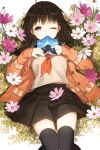 black_hair black_legwear book braid cardigan covering_mouth flower grass highres holding holding_book long_hair lying on_back open_book open_cardigan open_mouth original pink_eyes pleated_skirt salt_(salty) school_uniform serafuku skirt solo thigh-highs thighhighs twin_braids wink zettai_ryouiki