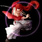 fighting_stance full_body hakama haruko_(ya512722) himura_kenshin japanese_clothes long_hair ponytail red_hair redhead rurouni_kenshin scar solo ya512722