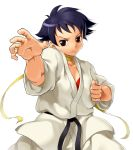 black_hair bra brown_eyes brown_hair capcom dougi fighting_stance frown karate_gi makoto onsoku_maru red_bra scarf short_hair simple_background solo street_fighter street_fighter_iii street_fighter_iii:_3rd_strike underwear white_background
