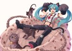 :d animal_ears aqua_hair bell blue_eyes cat cat_ears cat_paws cat_tail fkey hatsune_miku headphones long_hair necktie open_mouth paws smile solo suspenders tail twintails very_long_hair vocaloid